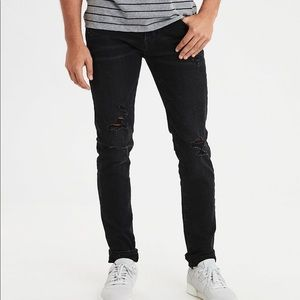 American Eagle black distressed skinny jeans